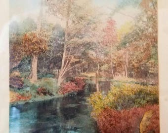 Wallace nutting landscape painting signed artwork