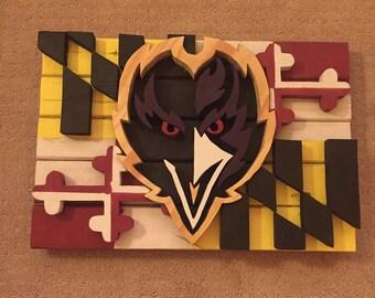 Baltimore Ravens wood flag