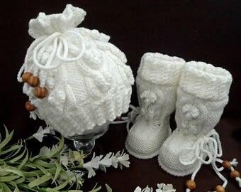 Crochet Baby Set Knitted Baby Set Crochet Baby Booties Crochet Baby Shoes Crochet Baby Hat Baby Boy Baby Girl Baby Beanie Baby Shower Gift