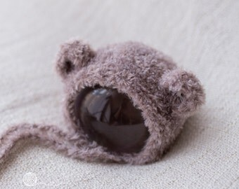 Teddy hat, Teddy Bonnet, Photography prop, UK Seller, Cream teddy hat, Beige Teddy hat Grey Teddy hat