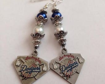 Los Angeles Dodgers Inspired Earrings, Los Angeles Dodgers Jewelry, Dodgers Earrings, Dodgers Jewelry, Baseball Earrings, Ships From USA