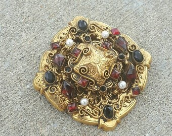 Vintage Original by Robert Florenza Style Ornate Statement Antiqued Gold Tone Garnet Rhinestone Faux Pearl Brooch Pin