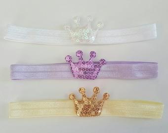 Baby - Toddler Sequin Crowns Headbands Set of 3
