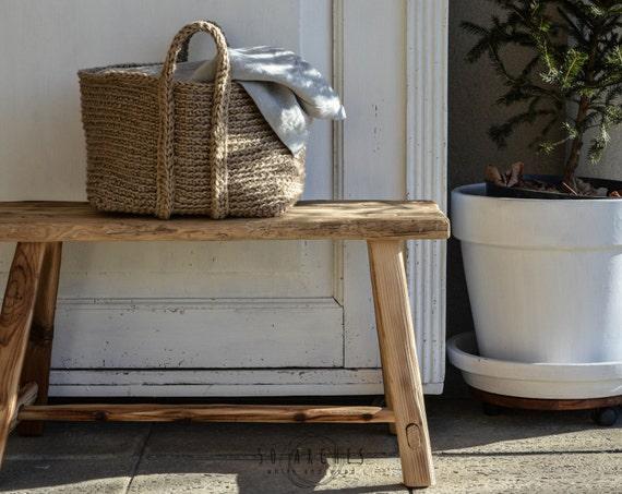 Handmade Jute Baskets : Handmade jute rectangular basket large crochet organizer