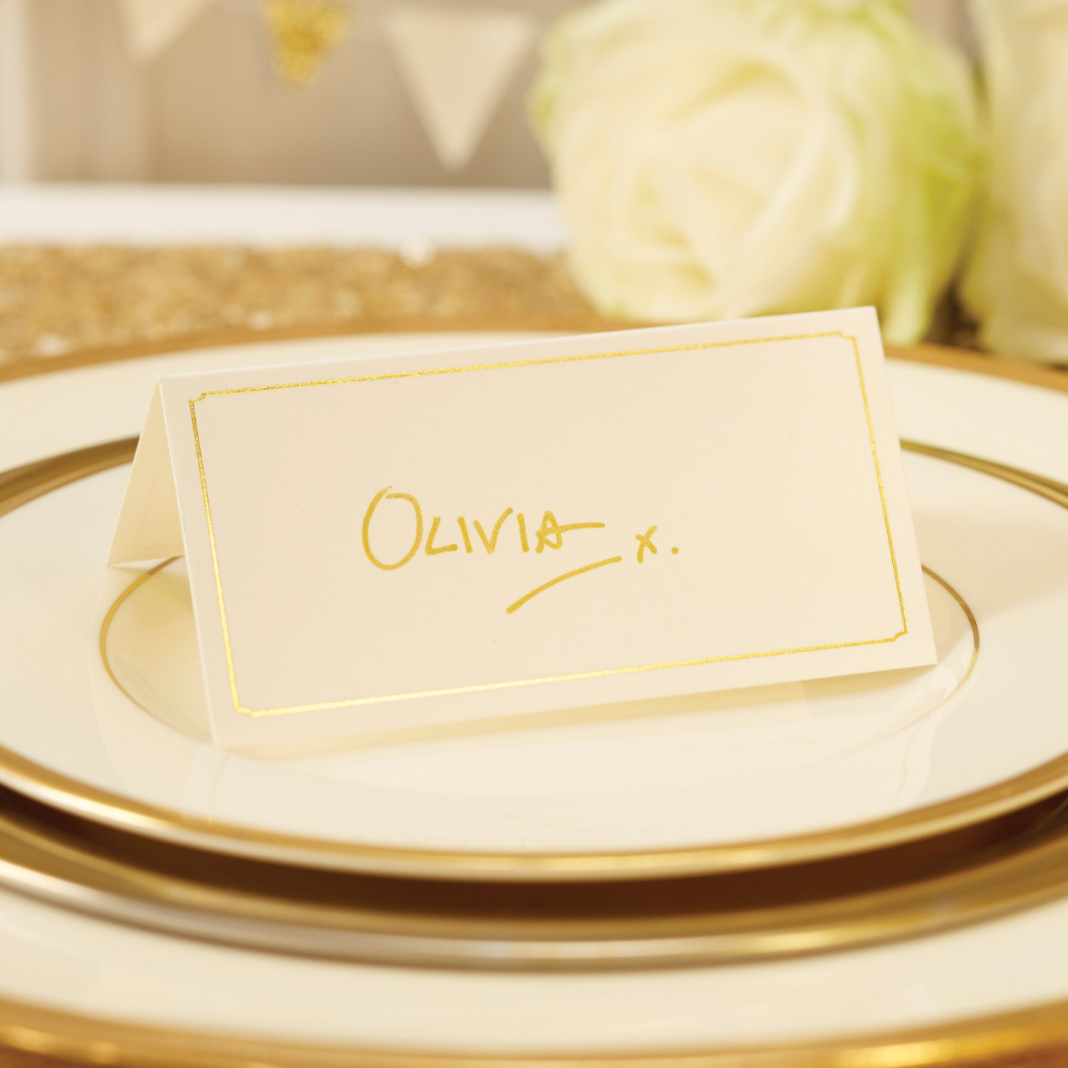 Ivory and gold foil place cards name cards table plan for Table place cards