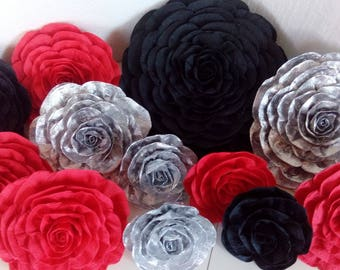 12 giant paper flowers backdrop black silver red Mickey Shower valentine anniversary Gradutation  Party decor Shower Carpet Hollywood Asian