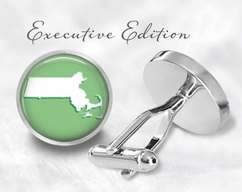 Massachusetts Cufflinks - MA Cufflinks - Boston Cufflinks - State Cuff Links (Pair) Lifetime Guarantee (S0537)