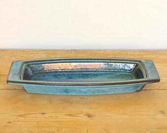 Vintage tray turquoise retro Stogo ceramic glazed.Vintage blue ceramic tray.Catchall.Home decor.Decorative tray.1960s Morkov tray.dansk