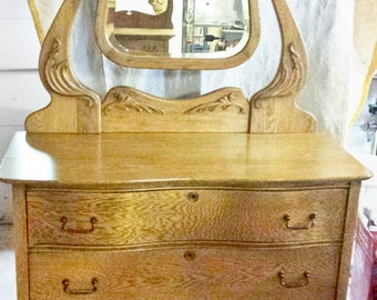 Antique Oak Dresser with Mirror