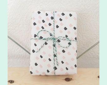 Printable Pastel Pink and Black Gift Wrap - printable wrapping paper, light coral pink and black gift wrap, elegant gift wrap, A4 gift-wrap