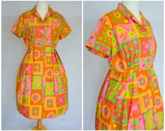 Vintage Early 1960s Cotton Pink, Orange and Green Abstact Print Shirt Dress Size UK 16 L Volup