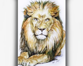 Lion Original Watercolor Painting 5inch×7inch, whimsical lion Watercolor Illustration, Small Animal Art, Wall Art, Modern Lion Art, Fine Art