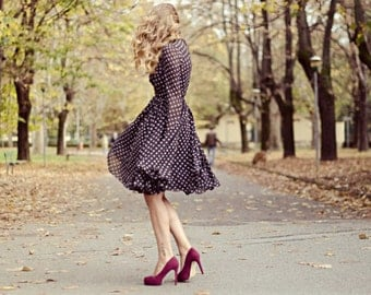 50 years polka dot dress/gown with long sleeves/custom made/