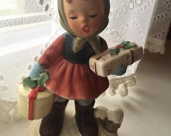 Vintage Napco Christmas Caroler Girl with Gifts--SHIPS FREE!