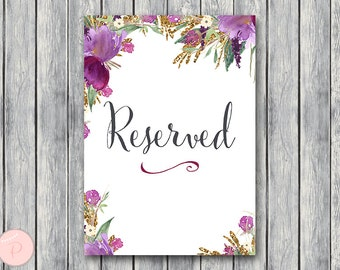 Reserved sign, Wedding Reserved seating sign, Reserved table sign, Wedding sign, Printable sign, Wedding decoration sign TH59