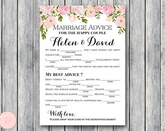 Peonies Marriage advice cards, Marriage advice cards, Wedding Mad Libs, Bridal Shower Mad Libs, Bridal Mad Libs, Mad lib advice WD67 TH13