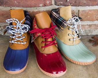 Duck Boots w/ Monogram - Fold Down- Birthday Gifts, Graduation Gifts, Embroidered Rainwear, Rainwear, Gifts For Mom, Sorority Gifts