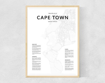 Cape Town map print, Cape Town wall map, Cape Town print, Cape Town poster, Cape Town map, Black and White print, city map, map of city