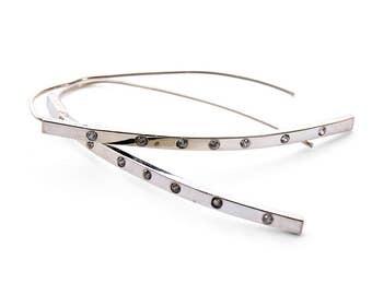 Sterling Silver Modern/Urban Drop Earrings with Swarowski Zirconia/ Diamonds upgrade option available