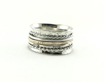 Sterling Silver Spinner Gold Filled Ring/ Mixed Metal Spinner Ring