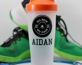 No pain no gain Protein Shaker Bottle - Custom Protein Shaker Bottle - Shaker Bottle with Custom Name, Name with barbell PRO061