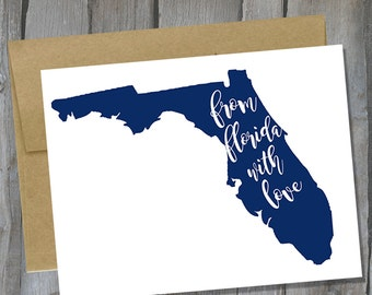 Customizable From Florida With Love Notecard Set of 12 - Florida Note Card Set - Stationary Set