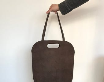 Brown hand stitched leather tote, handbag, shoulderbag