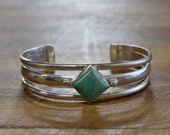 Vintage Navajo Turquoise Sterling Silver Cuff Bracelet