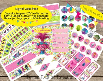 Digital Download Trolls Party Decoration Value Pack. Invitation, Cupcake Topper, Water Bottle Labels, Straw Flag Pennnants, Thank You Tags.