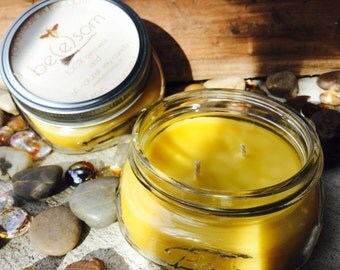 100% Pure Beeswax Candle. 8ozs of pure beeswax in a flat Mason jar. Beeswax will clean the air in your home