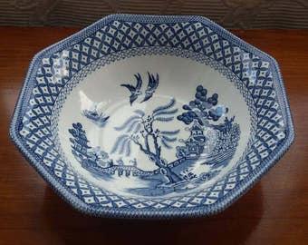 J & G Meakin Willow Octagonal Bowl