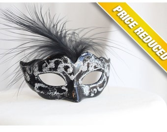 Miniature, Mini Masquerade Masks (Black & Silver) Cake Topper, Cupcake Topper, Paris Decoration, Centerpiece Decor, overthetopcaketopper