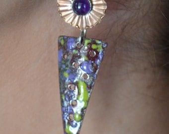 Amethyst and enameled copper earrings