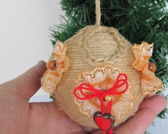 gift holiday baubles christmas shabby chic decor jute ball rustic natural decor christmas gift girlfriend gift farmhouse decor twine hanging