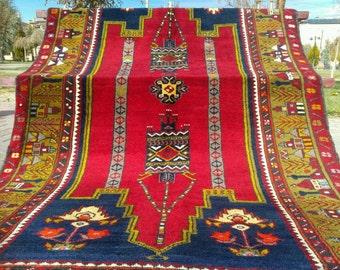 Antique Cr1900-1939s Tribal Dowry Wool Pile Carpet -4'5''x8'9'' Folk-Art Turkey