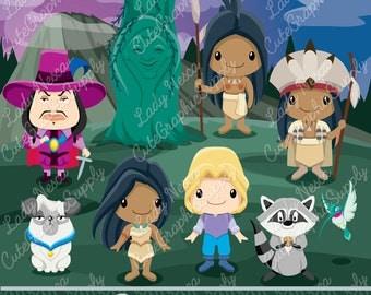 Pocahontas clipart, Native clipart, Princess clipart, Princess digital clipart, disney inspired clipart -LN0154-