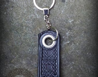 Black Leather Celtic Keychain