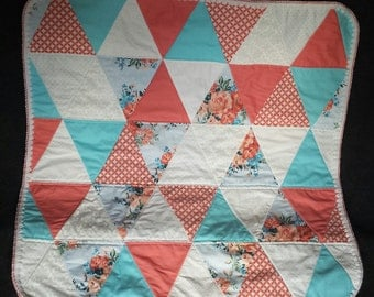 Coral and Blue Triangle Stroller Quilt