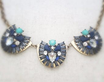 Blue statement necklace, gold statement necklace, crystal statement necklace, blue necklace, gold necklace, crystal necklace, statement