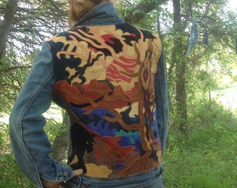 Jaguar and Wise tree ~ Leather Appliqué on denim ladies short jacket