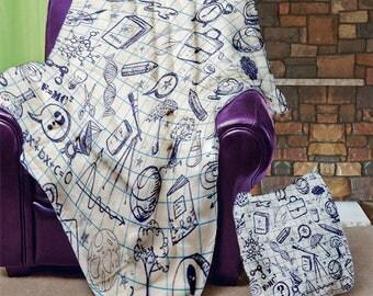"""School Scribble 50"""" x 60"""" Velveteen Blanket"""