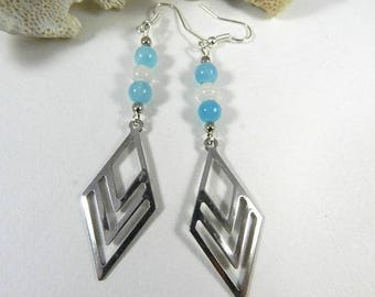 Earrings Silver Blue, earrings dangling geometric, designer jewelry, artisan earrings