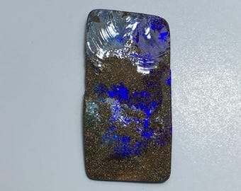 Boulder Opal 35ct Boulder Opal Cabochon Purple Rough Surface Flat Back Focal Bead Wirewrapping Free Shipping