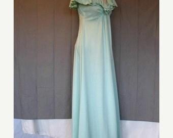 On Sale 1970's Evening Dress Sleeveless in Light Mint Green Qiana