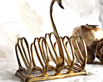 Solid Brass Swan Napkin Holder, Letter Holder, Office Decor, Kitchen Decor, Brass Swan