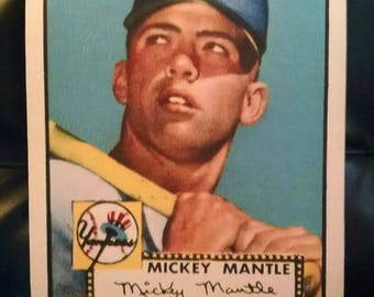 MICKEY MANTLE - 1952 Topps - 11 x 14 canvas transfer print - classic baseball card art