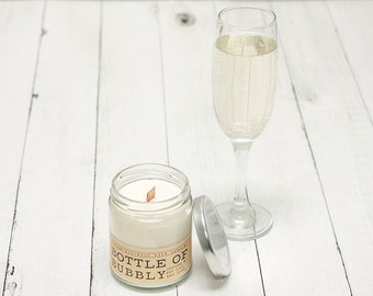 Champagne Scented Wood Wick Candle, Wine Scented Soy Wax Candle, Scented Soy Candle, Champagne Scented Candle New Years