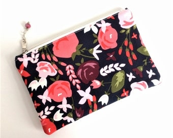 FREE U.S. SHIPPING - Floral Zipper Pouch - Bridal Shower Gift - Small Makeup Bag - Small Zipper Pouch - Pencil Pouch - Toiletry Bag