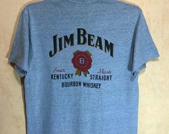 "80s Vintage JIM BEAM T-shirt Hanes Poly Cotton Crew Neck Adult Large Size Chest 20"""