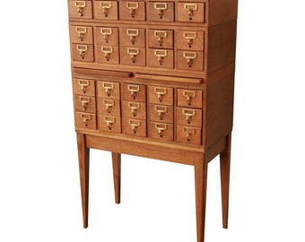 SOLD - Antique 30-Drawer Oak Library Card Catalog by Gaylord Bros.